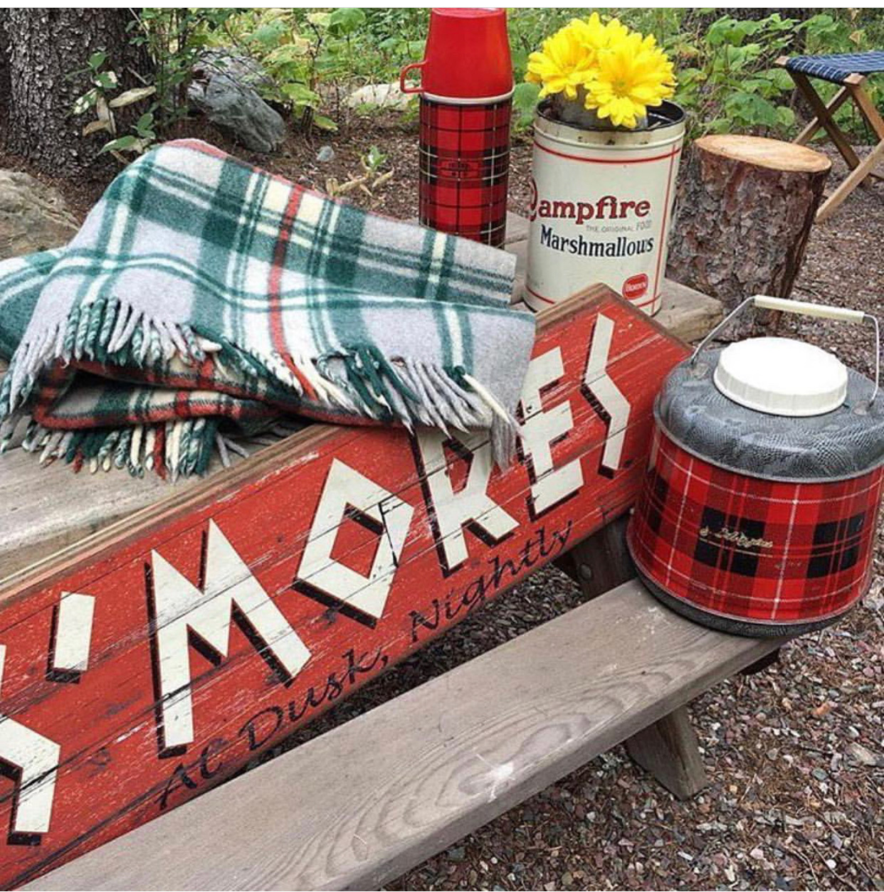 Vintage Camp Blanket, S'mores sign, thermos and Campfire Marshmallow Tin