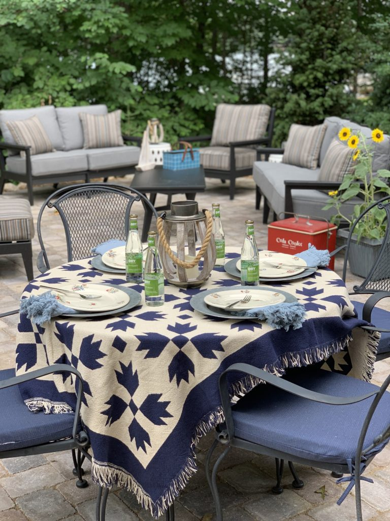 Backyard Patio with blue and white quilt tablecloth