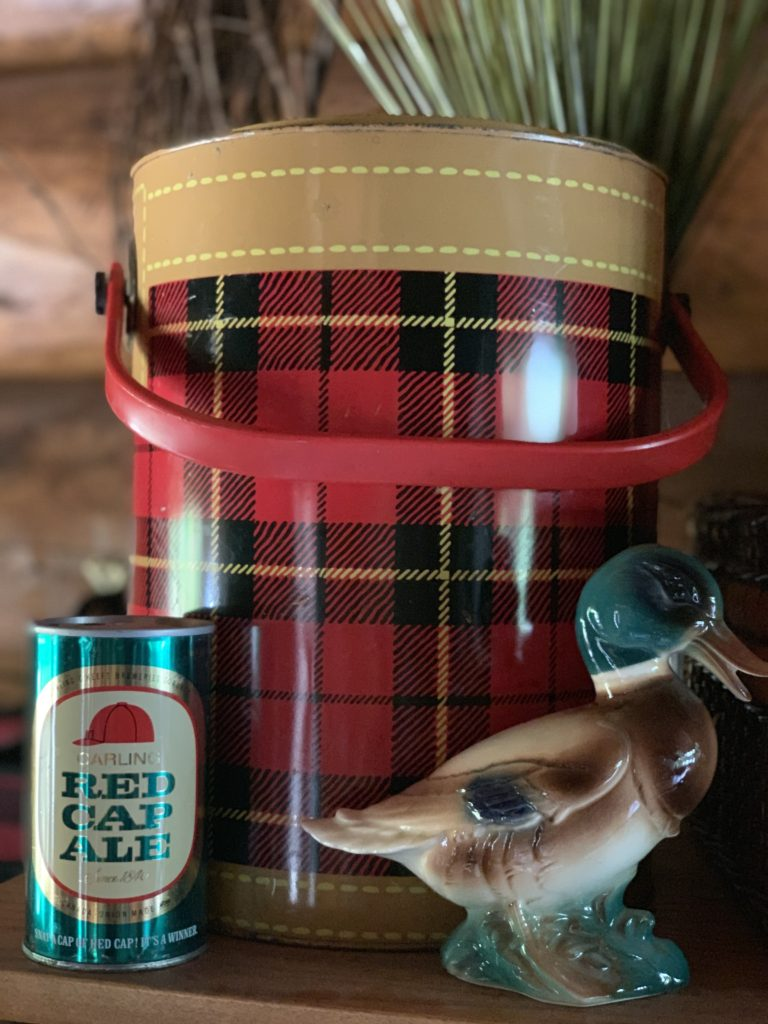 Scotch Cooler, Ceramic Mallard Duck and Vintage Red Cap Cooler for Fall Decor