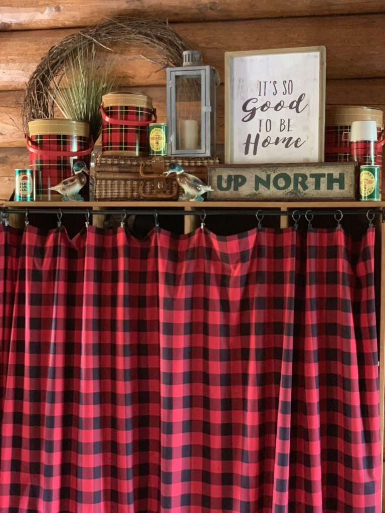 Lake House Cubbies decorated for fall with buffalo plaid and ducks