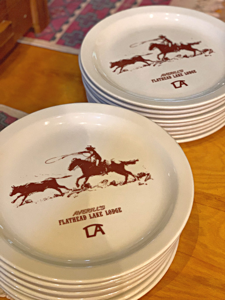 western dishes with cowboy roping steer