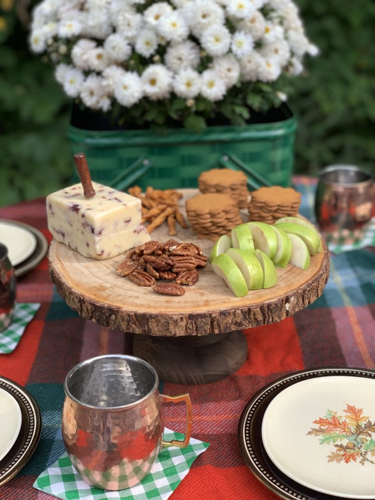 Fall Snacks with apples, gingersnaps, pecans, cheese and pretzels.