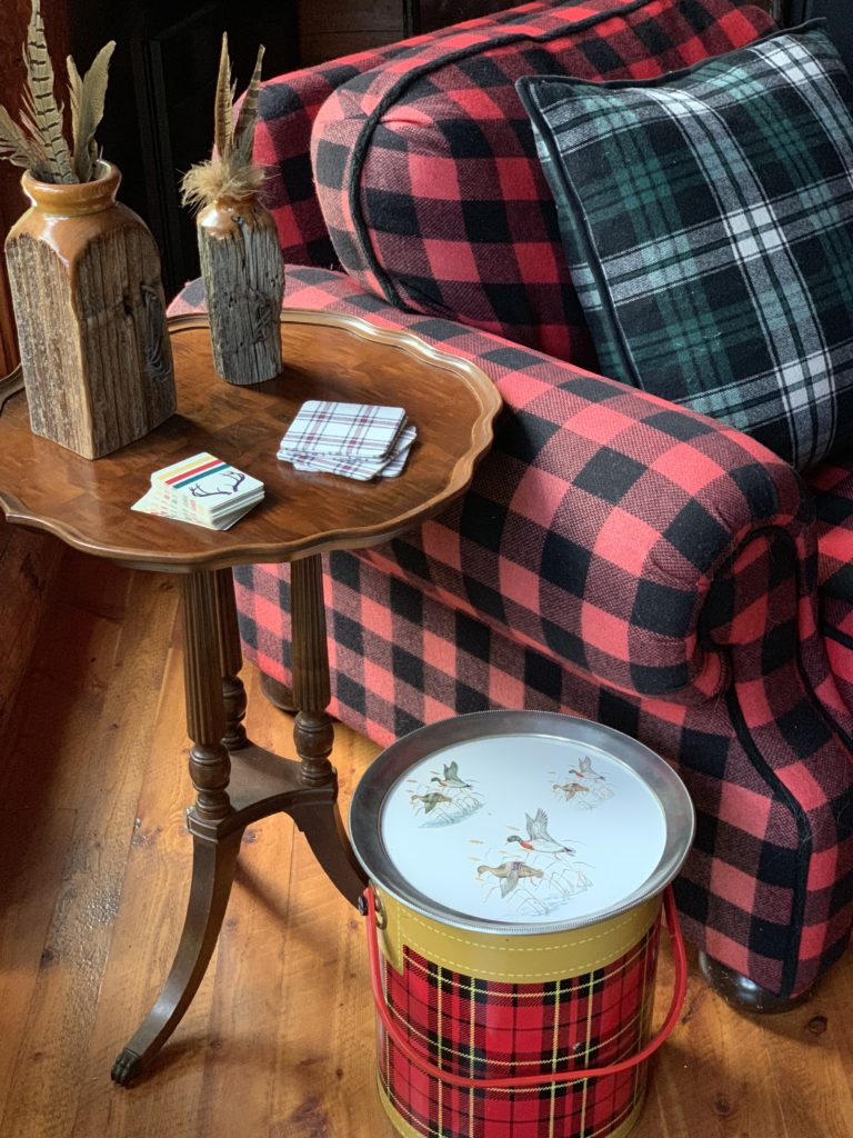 Buffalo Plaid Chair and Tray with Ducks