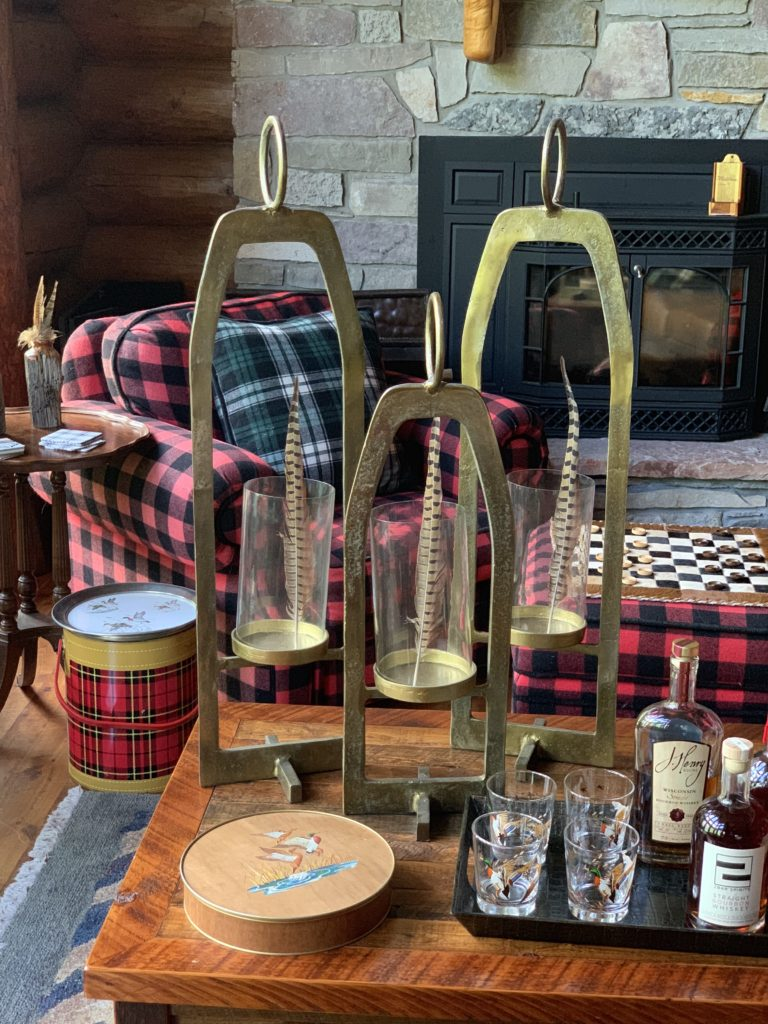 Great Room for Fall Brass Hurricane Lanterns and Buffalo Plaid