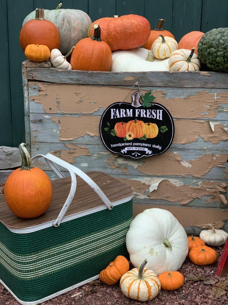 Fall porch vintage green picnic basket and pumpkins