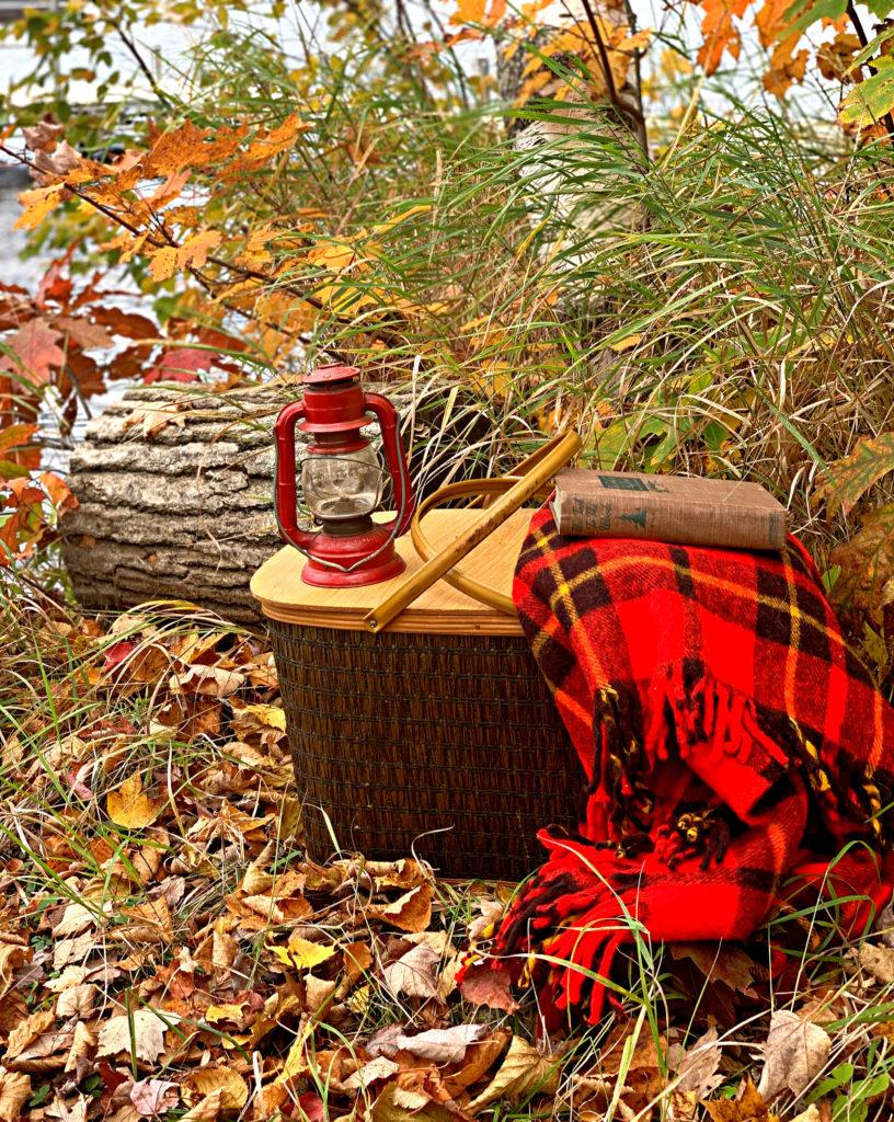 Vintage Picnic Basket and blanket