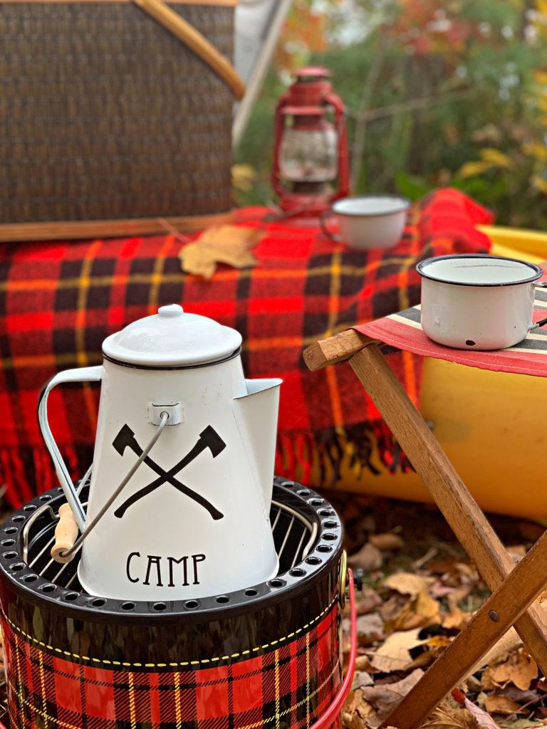Enamelware coffee pot and mugs