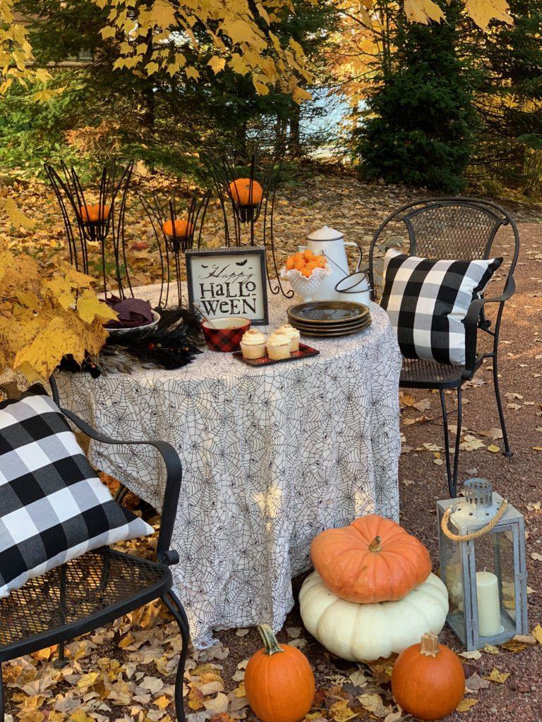 Halloween Table with Buffalo Plaid