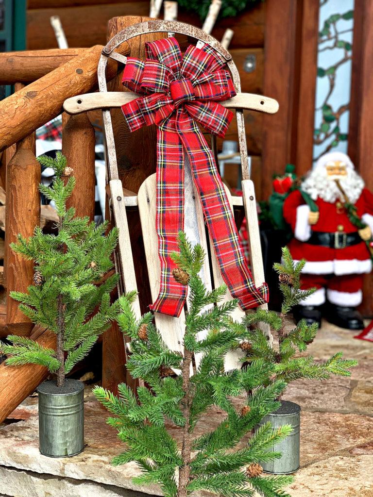 Christmas porch sled santa