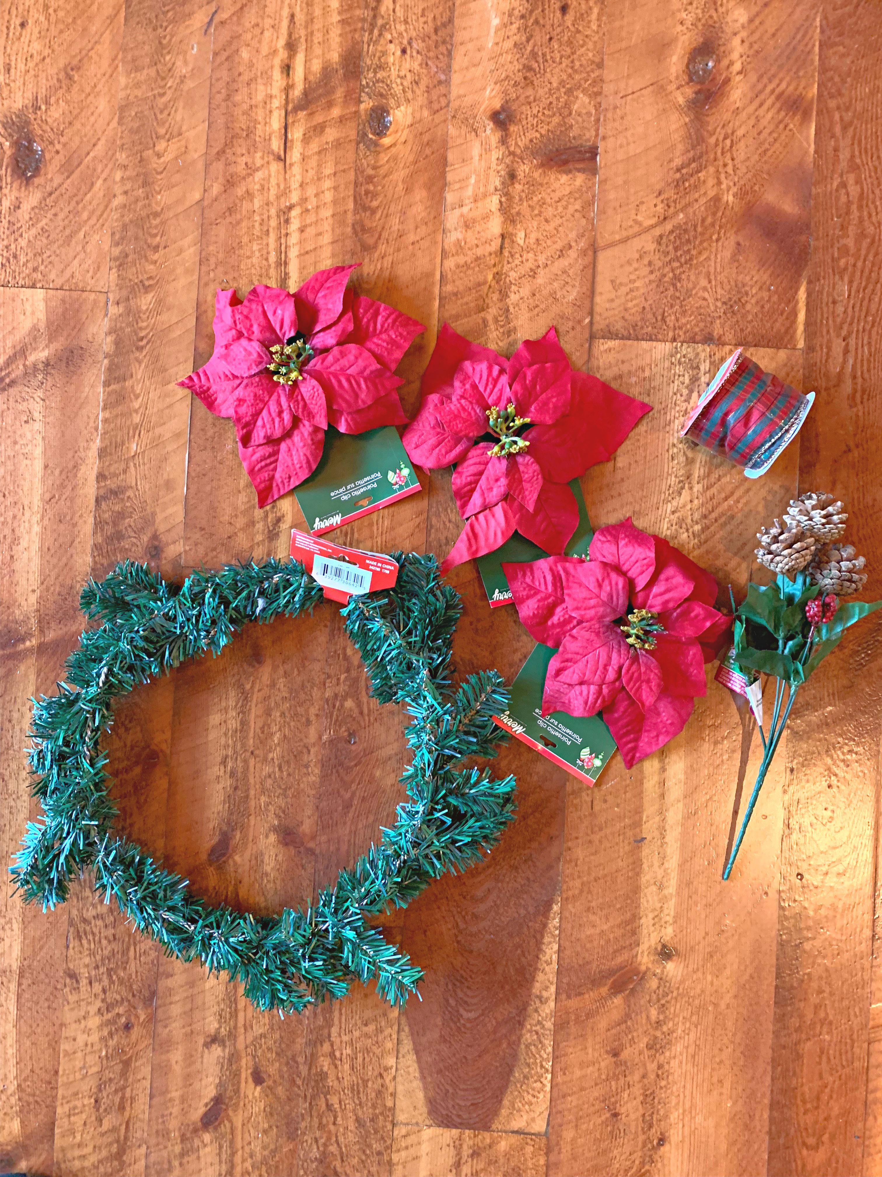Dollar Store Poinsettia Wreath