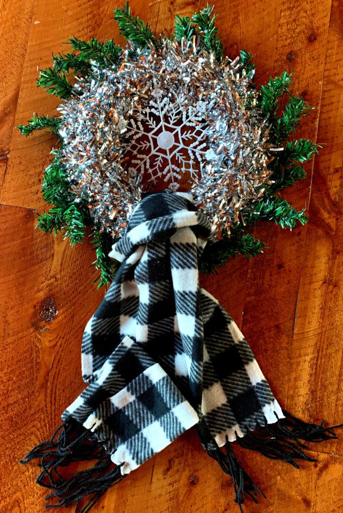 Dollar Tree Snowflake Buffalo Plaid Wreath