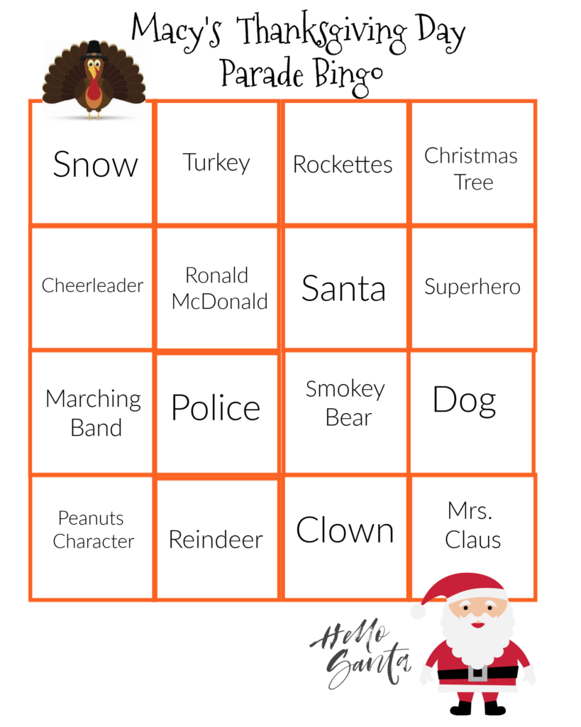Macy's Thanksgiving Day Parade Bingo Card