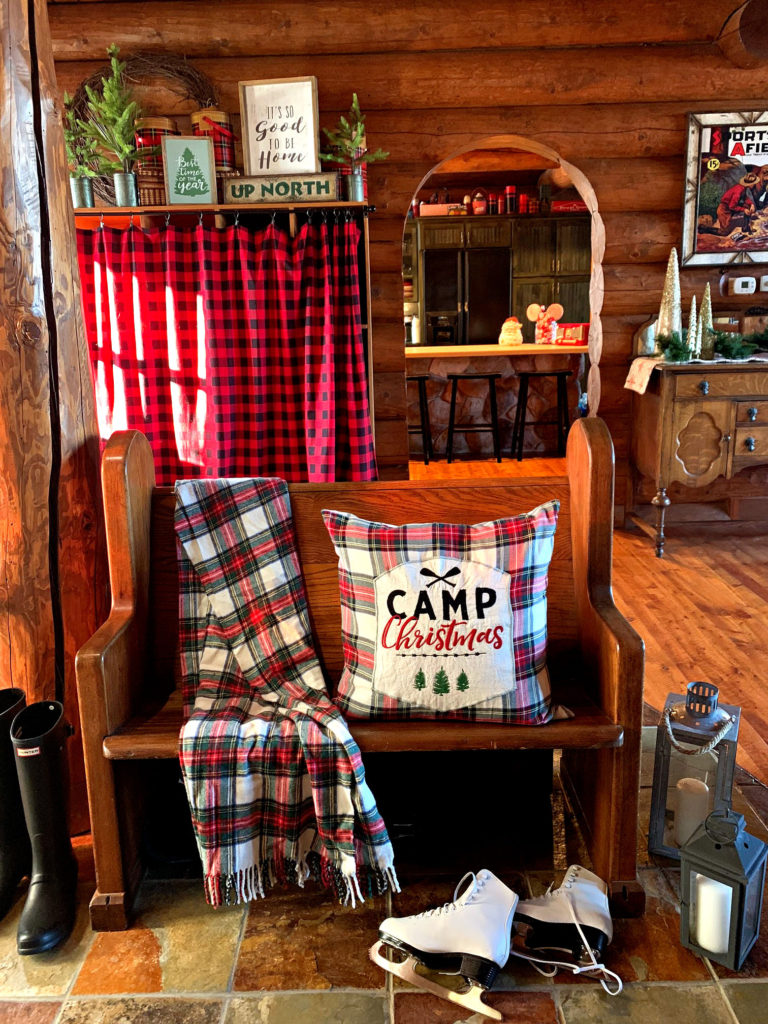 Christmas entry bench plaid pillow