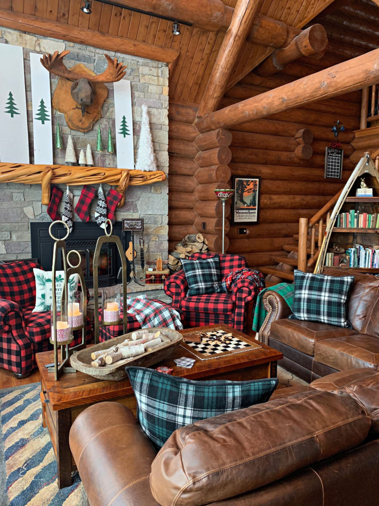 cabin great room with plaids