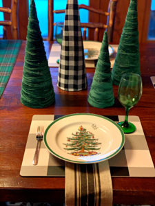 Green Velvet and Buffalo Plaid Christmas Trees and Placesetting