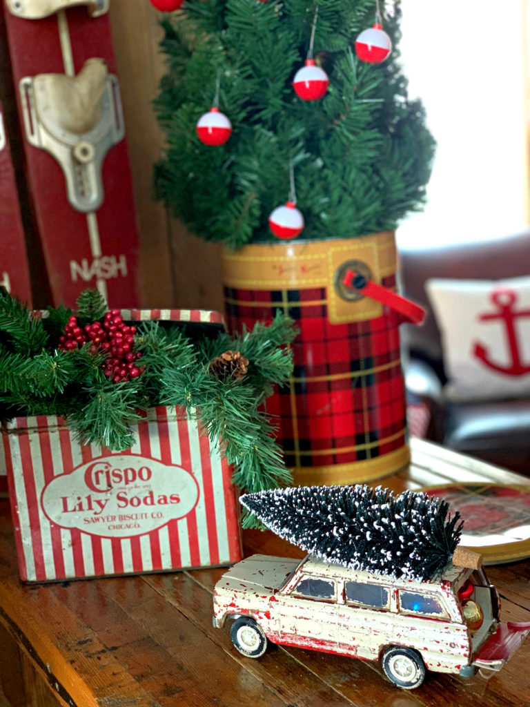 Christmas Vintage Truck with Tree and Tin with Greens