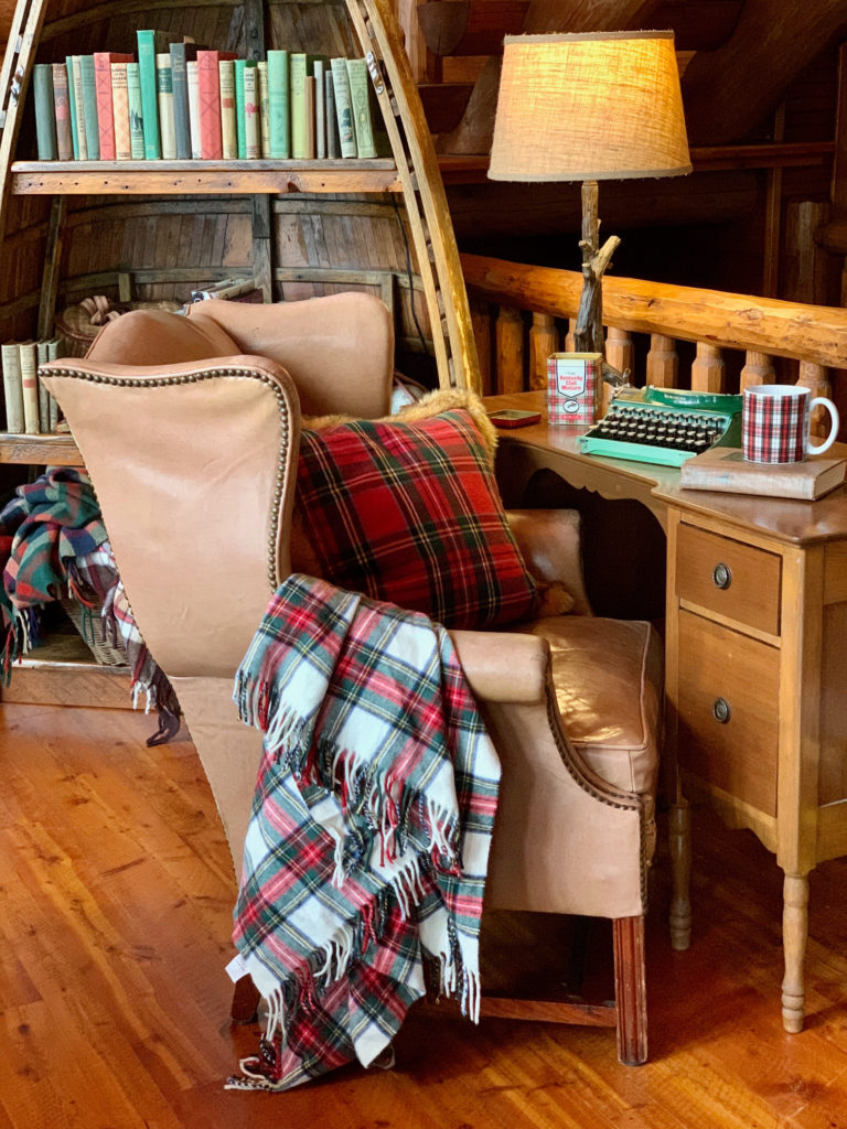 Antique desk and leather chair