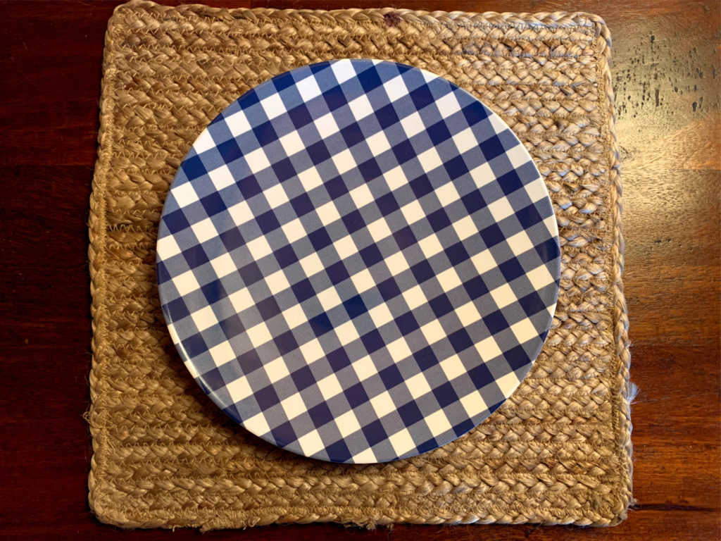 woven placemat and blue gingham plate