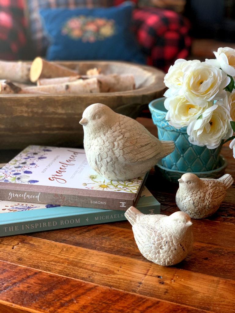 Spring Decor birds and pottery