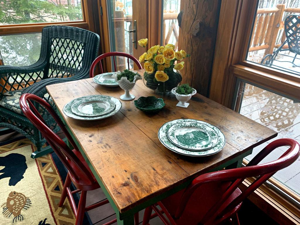 sunroom spring table cabin