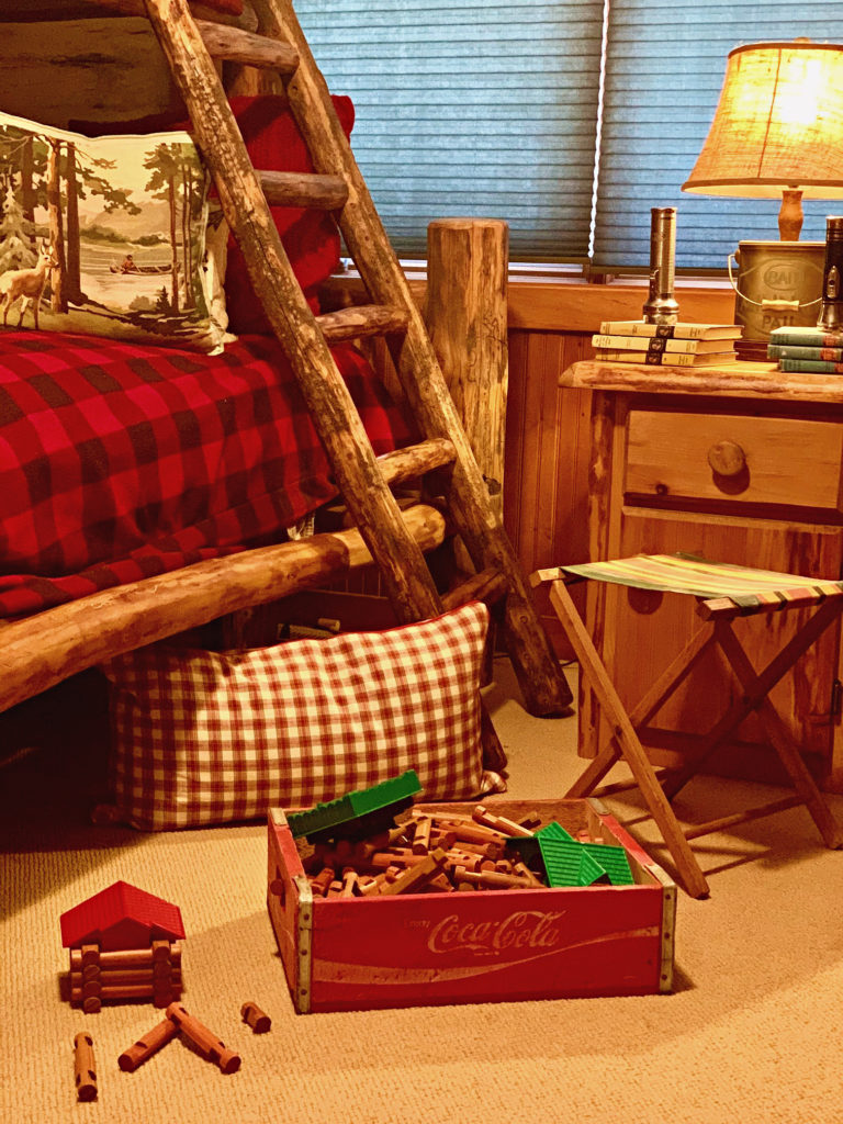 Lincoln Logs and Vintage Soda Crate in Cabin Bunk Room