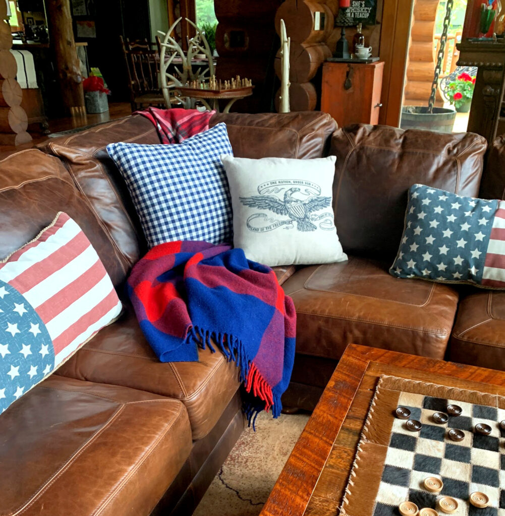 Summer Decor- Leather Sectional with Patriotic Pillows