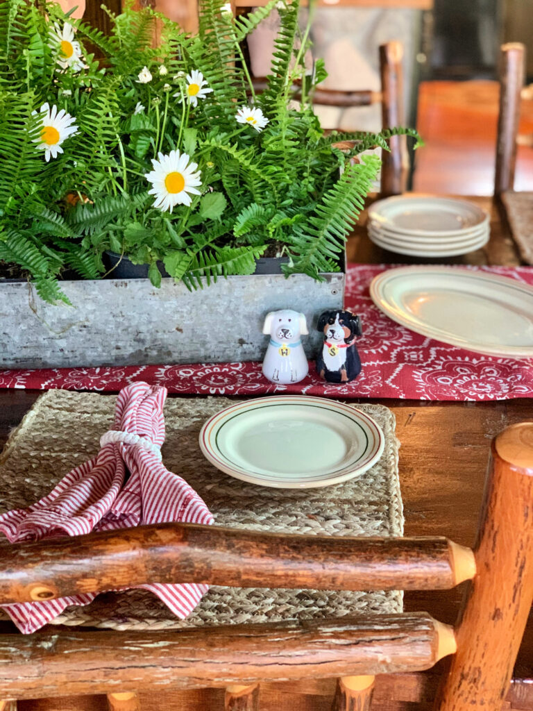 Summer Cottage Tablescape Reds and Whites Daisies and Ferns