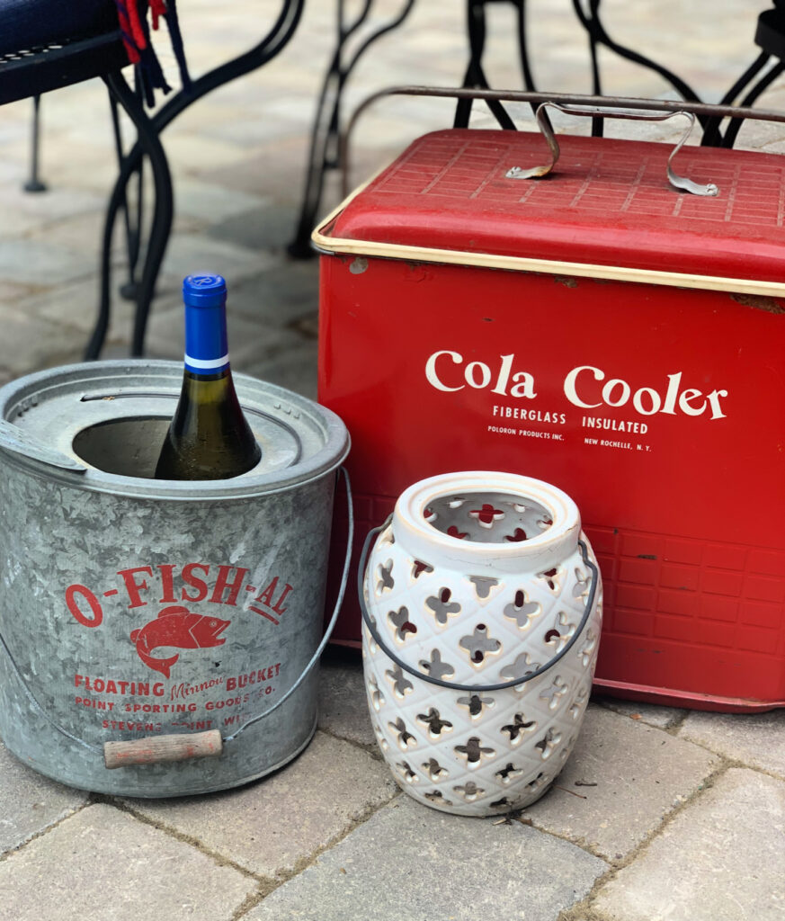 Vintage cooler and minnow bucket