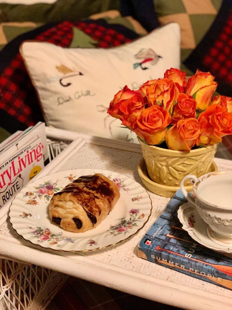 fresh flowers on breakfast tray, orange roses