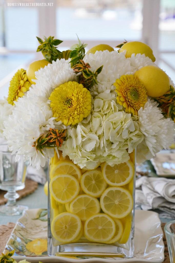 Floral Arrangement Hydrangeas and Lemons