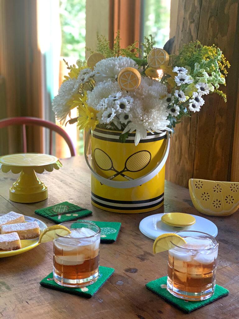 Summer tablescape with lemon bars
