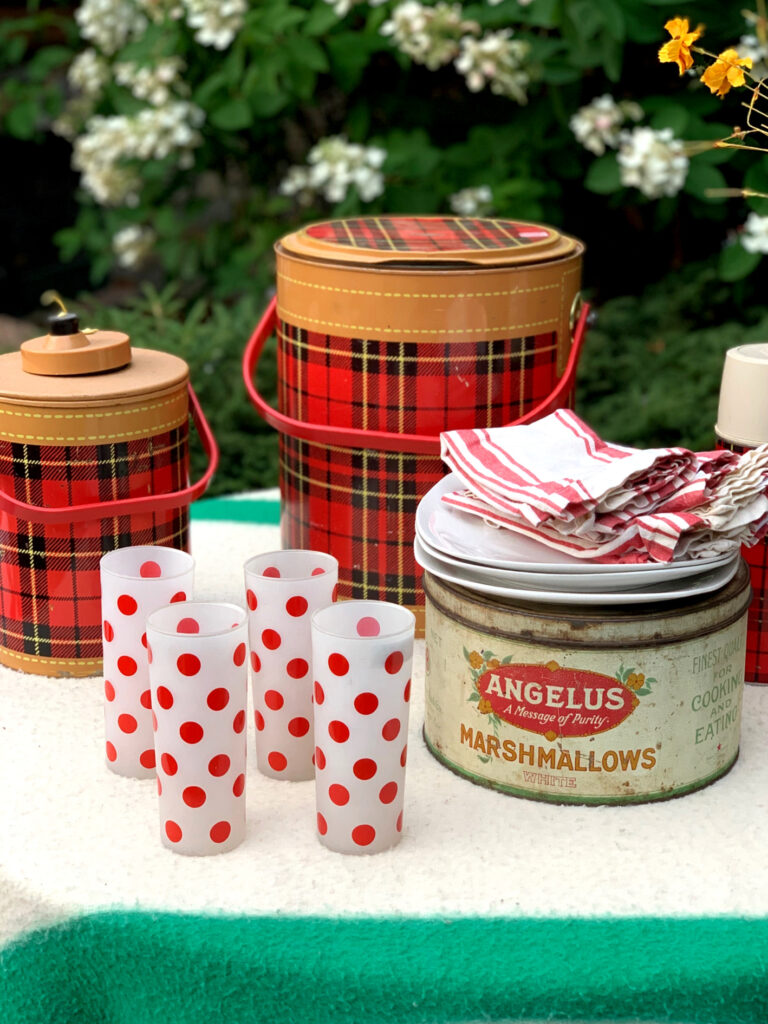 Vintage Scotch Cooler, Marshmallow tin, thermos and glasses