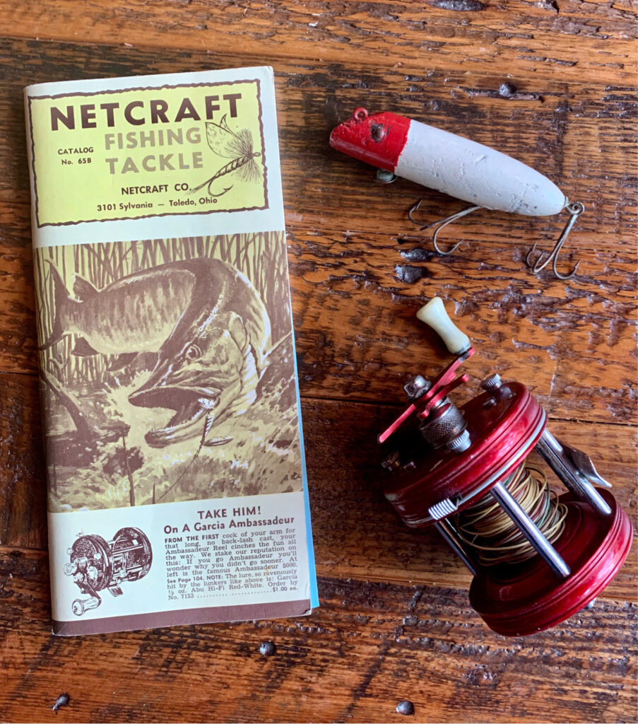 vintage fishing guide and decor