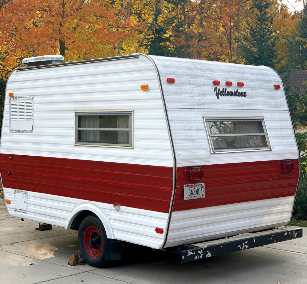 Vintage Red and White Camper