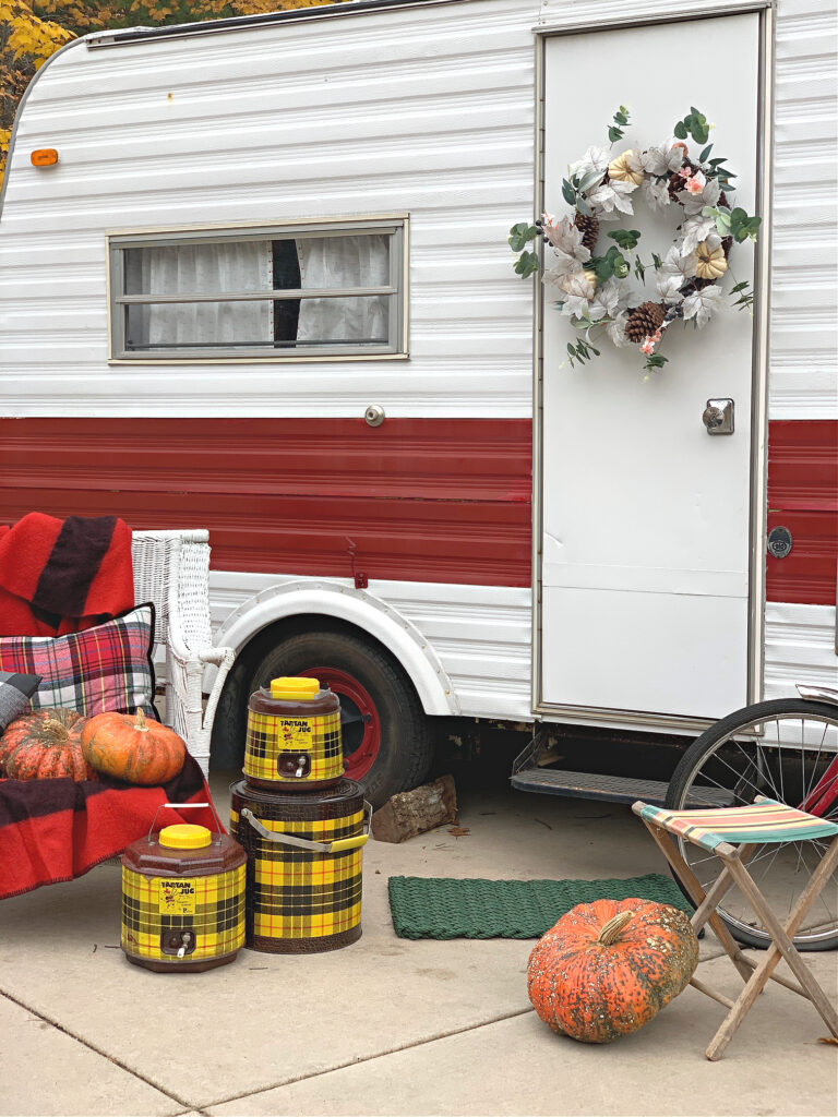 Vintage Camper decorated for Fall