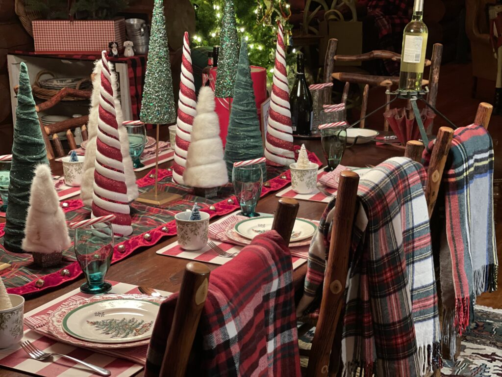 Christmas Tablescape with trees and plaids
