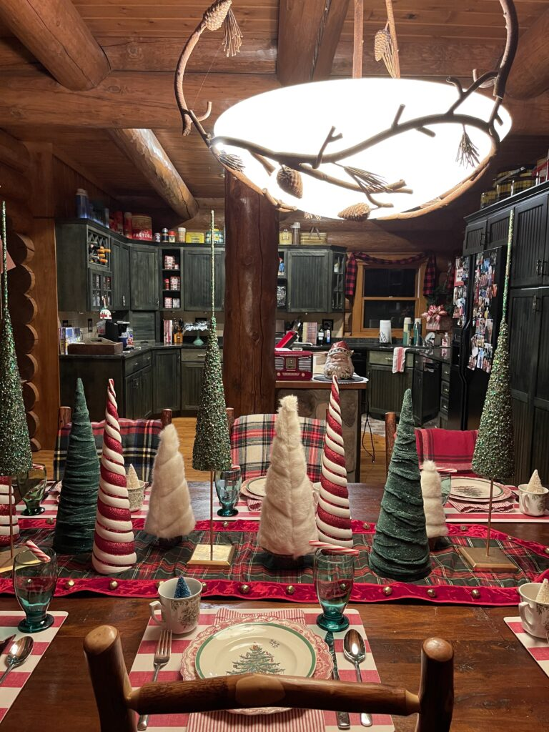 Cabin Dining Room and Kitchen for Christmas