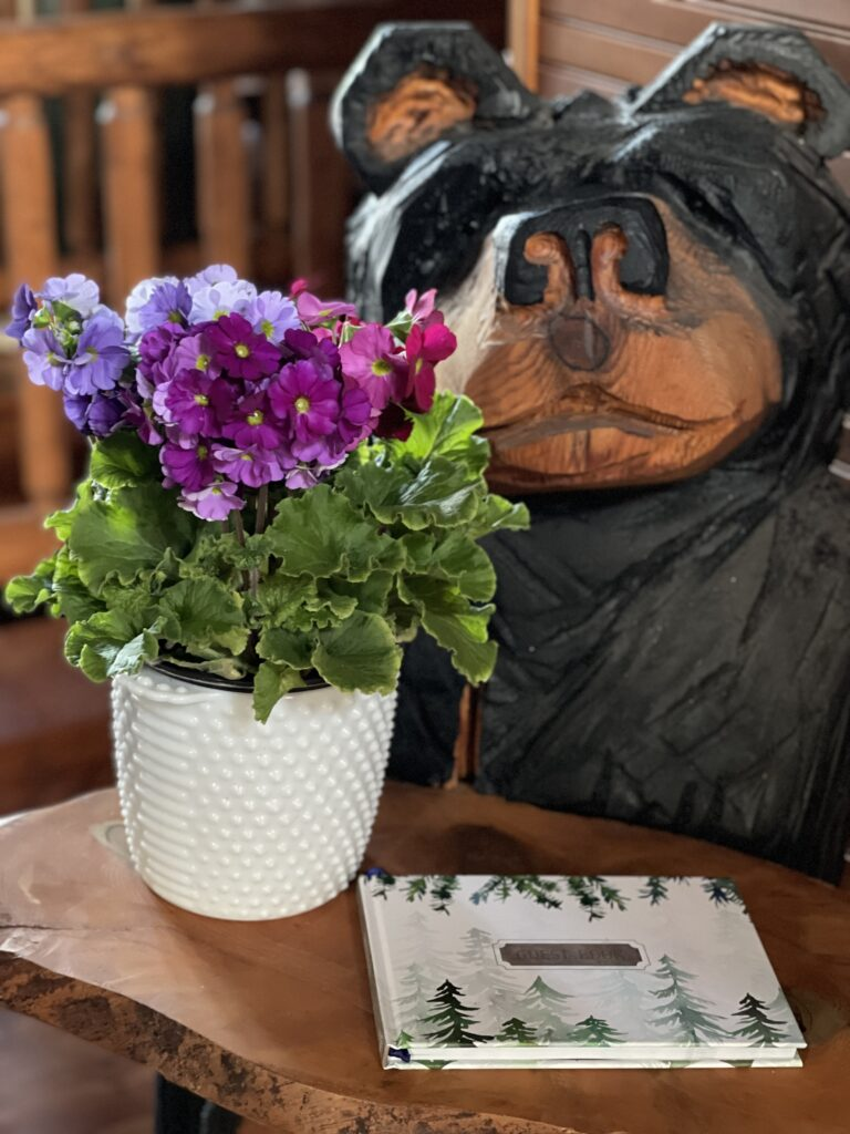 Cabin Guest Book on Carved Bear
