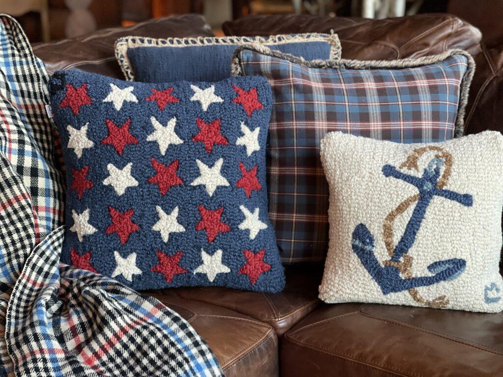 Nautical Pillows on leather sofa