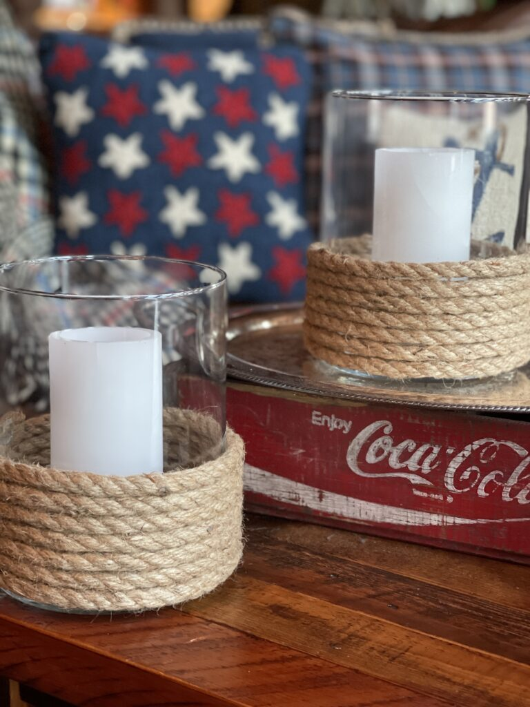 Nautical Deocr- Rope Candleholders