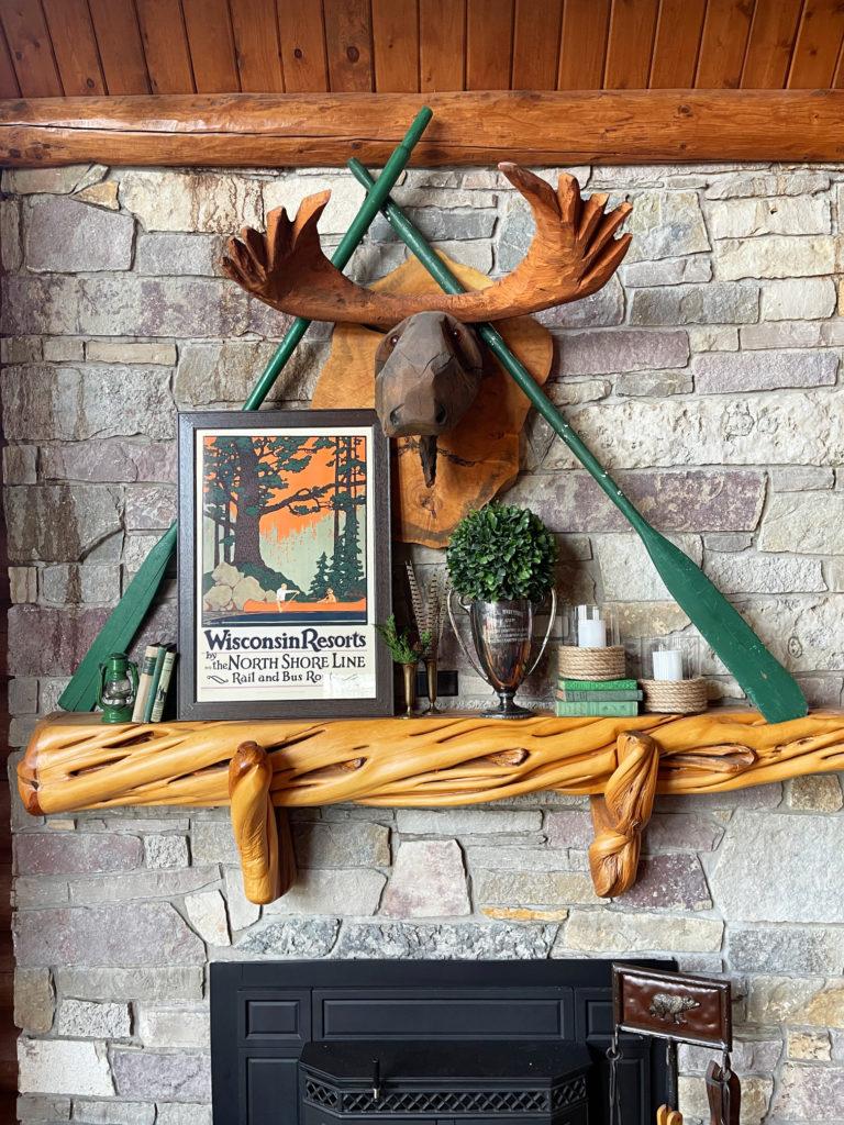 Spring Lake house cabin mantel