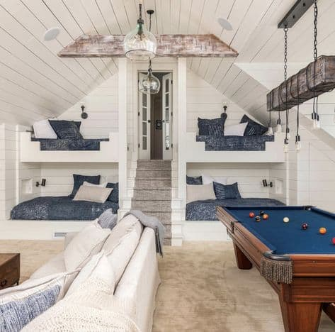 Bunk room with pool table