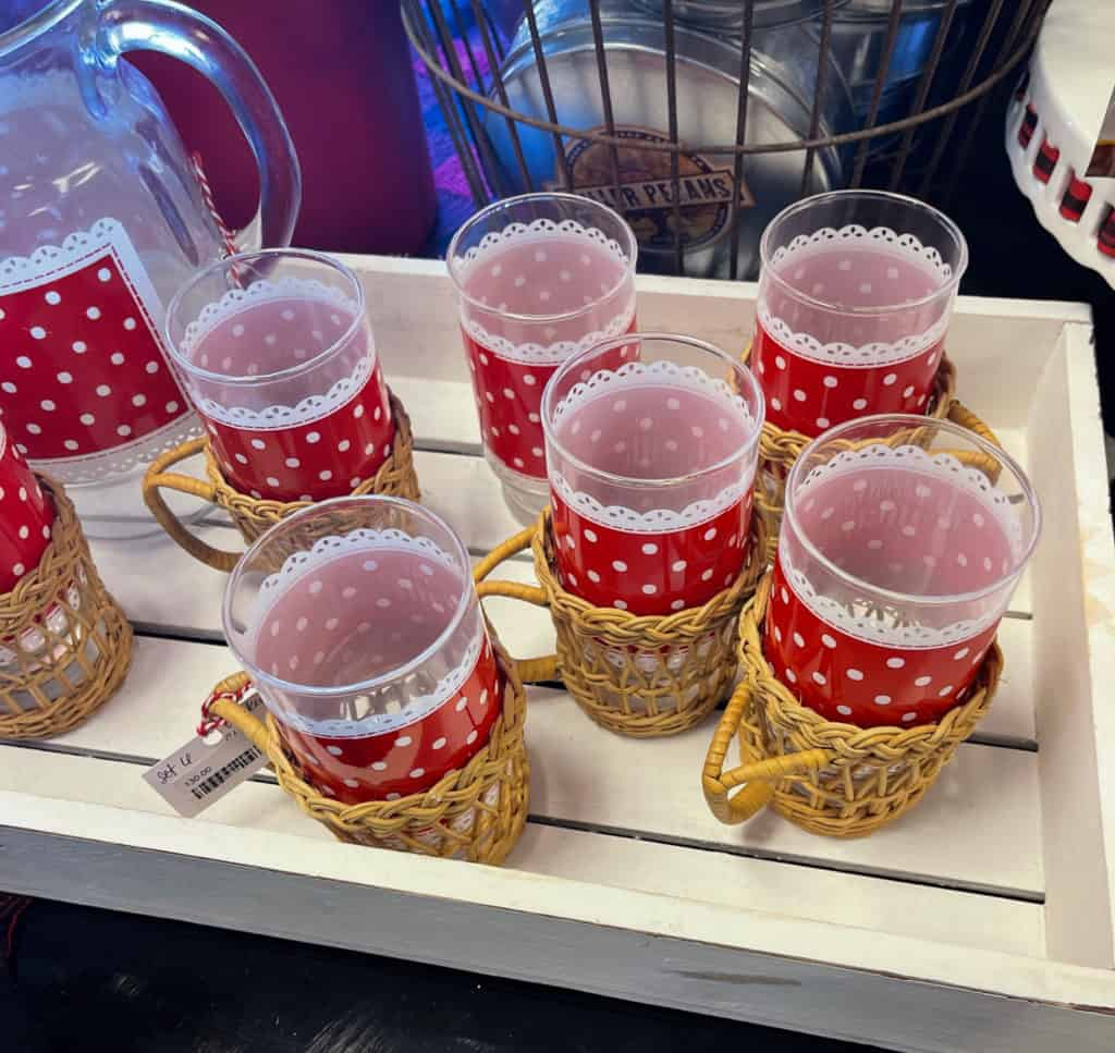 Vintage Red and White Polka Dot glassware in wicker holders