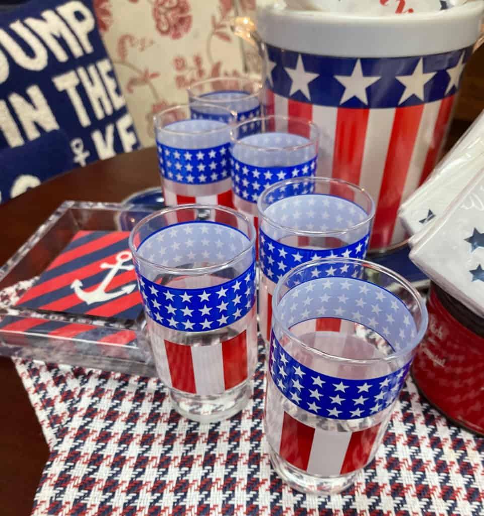 vintage stars and stripes glassware
