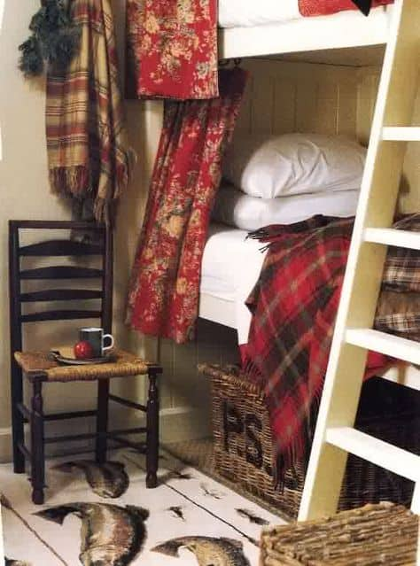 bunk room with curtains